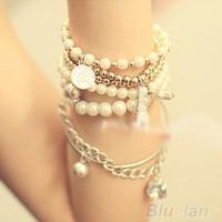 Womens Unique Jewelry Gold Metal Pearl Multilayer Pendant bracelets & bangles 06IZ