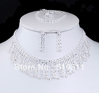 (Mini order is $10) Graceful Fashion Acrylic Necklace Earrings Bracelet Ring Wedding Jewelry Sets wholesale