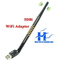Wholesale Mini 150Mbps IEEE802.11b/g/n USB 2.0 Wireless Wi-Fi Adapter w/ 5dBi Gain Antenna  for Hotsale External accessories