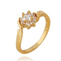 Fashion Elegant Beauty Size 7 8 Popular Cute Sun Flower Pattern Jewelry Zircon Decoration Gold Plated Ring For Women R1-J0425