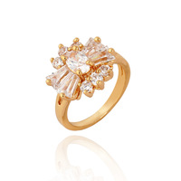 Fashion Elegant Beauty Size 7 8 Popular Simple Jewelry Daisy Flower Zircon Decoration Gold Plated Ring For Women R1-J0091