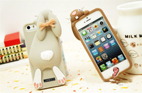 3D Cute Milan Bunny Rabbit Rubber Soft Silicon Case Cover For iphone 5 5G 5S 4 4S 4G delux colors