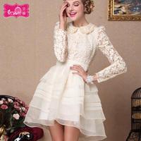2013 autumn lace one-piece dress peter pan collar princess dress autumn dress organza embroidered puff