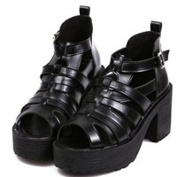 2014 summer women's sandals shoes woman platform sandals gladiators wedges thick heel flatform sandals black free shipping