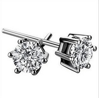 Basic Style Jewelry 925 Sterling Silver Round White Sapphire Crystal Stone Studs Earrings