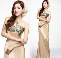 Bridal evening dress fashion design long evening dress full dress costume tube top evening dress