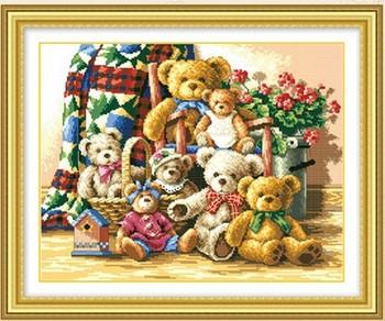 Медведь клуб вышивки крестом комплект животное семья ручной DIY устанавливает шить комплект для вышивания ремесло рукоделие стены украшения дома