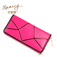 2014 female cowhide wallet long design women's zipper wallet fashion color block wallet multi card holder