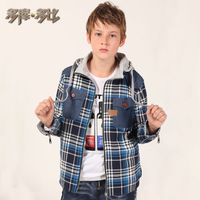 Double reversible children's clothing male child outerwear thickening 2013 autumn and winter child casual sweatshirt