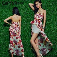 2014 spring women's print irregular sweep formal dress tube top dress one-piece dress