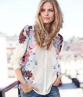 2014 new fashion Spring European and American printing ink long-sleeved shirt collar blouse Chiffon cardiggan Free shippi