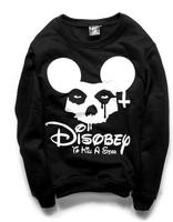 Hot sale NEW 2014 women's sweatshirts harajuku cartoon print hoodies Skull mouse head pullovers free shipping S M L
