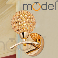Brief modern crystal gold wall lamp ofhead mirror stair single circle for living room, dining room, study, bedding room, other