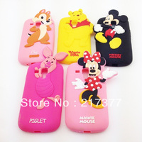 3D Cute Mickey Mouse Pig Winnie Minions Silicone Soft Cover Case For Samsung Galaxy S Duos S7562 Free Shipping