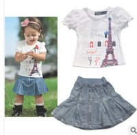 Free shipping 2014 Children's clothing summer tower casual 2 pcs baby girls clothes short-sleeve set (t-shirt+ denim skirt