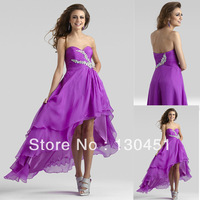 a-line beaded crystal sweetheart high low prom dress long ruffles short front long back evening dresses 2014 new