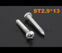(4#) 2.9*13 ST2.9*13 DIN7981 Stainless steel pan head round phillips self tapping screw 200pcs/lot Free shipping