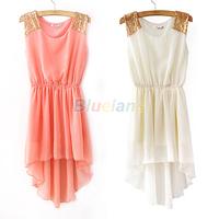 Hot Summer Elegant Women's Dresses Chiffon Casual Paillette Shoulder Slim Sleeveless Mini Vest Dress 7 Colors 076R