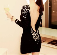 New Women Sexy Clup Dress Embellished Plastic Pearls Decoration Beaded Long Sleeve Backless Mini Dress Drop Shipping