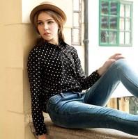 Spring 2014 women's retro wave point dot shirt bottoming shirt long sleeve chiffon shirt collar shirt free shippig