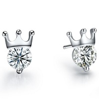 Wholesale & Retail for 100% Guaranteed Full 925 Sterling Silver Earrings with Zircon,Crown Silver Earrings,Top Quality (120101)