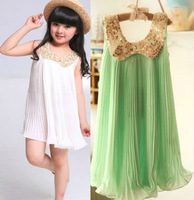 Free shipping 4pcs/lot New Fashion Sleeveless Solid Sequined Chiffon Draped Girl Dress / Blouse Kids Dress / clothes