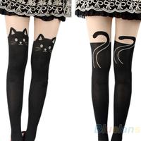 Sexy Women Cat Tail Gipsy Mock Knee High Hosiery Pantyhose Panty Hose Tattoo Tights Hot Selling 075U