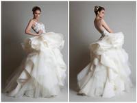 Vestido De Novia 2015  A  Line Organza Wedding Dress High Neck Back Button Bride Dress Custom-made