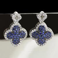 2013 accessories 925 needles blue rhinestone four leaf clover flower earrings
