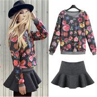 Fashion women's 2014 spring women's skirt flower sweatshirt expansion skirt set 9161 free shipping