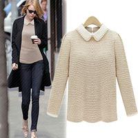 Spring Fashion shirts  women's long-sleeve turn-down collar pure sweater basic shirts  S-XL XM-808 free shipping