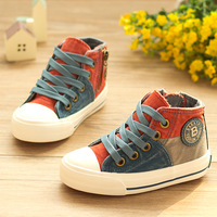 2014 spring high lacing child canvas shoes fashion single shoes girls boys shoes kid's sneakers rubber shoes