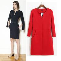 Women's 2013 autumn and winter fashion elegant ol V-neck long-sleeve slim hip pocket zipper one-piece dress Free shipping