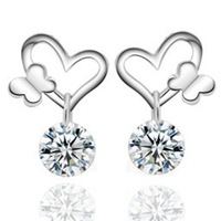 Lady's 925 Srerling Silver White Sapphire Butterfly Kiss Heart Drop Dangle Earrings for Women