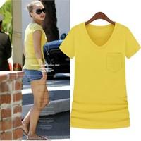 Women's summer fashion 2013 V-neck single pocket candy color short-sleeve modal T-shirt