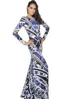 2014Spring Autumn High Quality Full Sleeve Brand Runway Floor-length Slim Elegant Bohemian Patchwork Print Black Long Dress