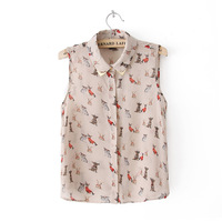 Women's 2013 topshop fashion animal metal sleeveless chiffon shirt