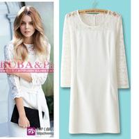 Women's 2013 fashion brief ladies lace cloth three quarter sleeve one-piece dress formal dress  Free shipping