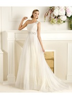 2014 A-line One Shoulder Crystal Belt Slim Tulle Wedding Dresses Bridal Gowns Customize Any Size & Color D03021
