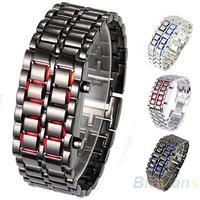 2013 New Fashion Men Women Lava Iron Samurai Metal LED Faceless Bracelet Watch Wristwatch Full Stainless Steel 06KH