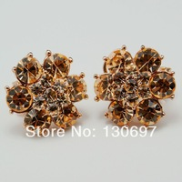 CLIP ON earrings zircon gold plated fashion jewelry GOLDEN SNOW free shipping RHINESTONE EARRINGS