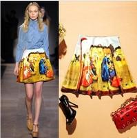 2014 autumn fashion luxury brief vintage oil painting print skirt bust skirt a-line skirt