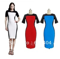 Fashion Womens Celeb Monochrome Fitted Black White Hit color Ladies Pencil Bodycon Slim charming Cocktail Midi Dress NEW WC196