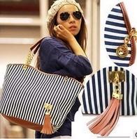 women handbag women leather handbags pu women messenger bags tassel  casual canvas stripe shoulder bags crossbody bag X76