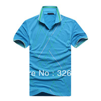 2014 New 2PC Short Sleeve Casual Shirts 4 Size Camisas Top Men  Polo Shirt,Camisa Polo Men Camisetas Masculinas