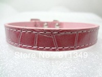 Free Shipping Pet Products Puppy Dog Cute Collars PU Leather with Rhinestone Charm Pink Large