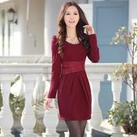 2013 autumn fashion slim plus size pleated slim hip knitted one-piece dress long-sleeve slim waist one-piece dress