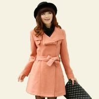 2013 autumn women's gray woolen outerwear slim wool coat medium-long