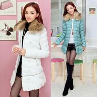 Winter wadded jacket the disassemblability fur collar cap medium-long plus size female two ways fashion