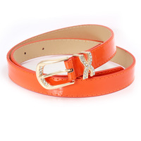 All-match women's small gold buckle thin belt female fashion candy color belt rhinestone wide strap decoration